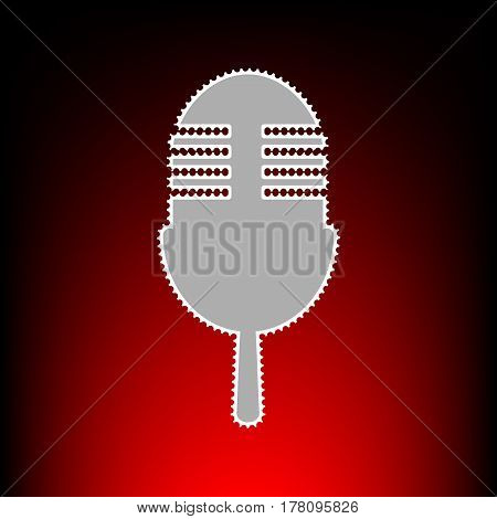 Retro microphone sign. Postage stamp or old photo style on red-black gradient background.