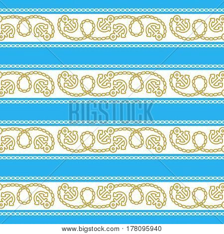 Seamless pattern with anchors and chains. Ongoing stripes background of marine theme blue color. Vector illustration