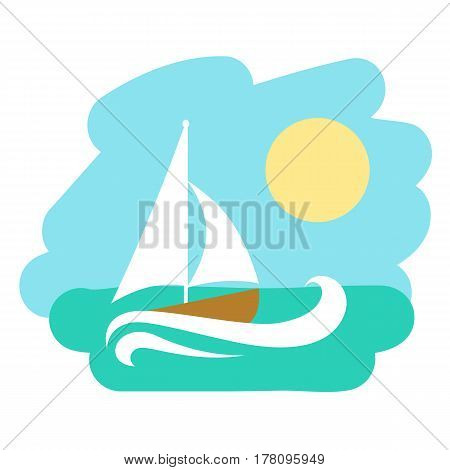 Landscape with sailboat. Vector illustration icon of theme traveling marine cruise.