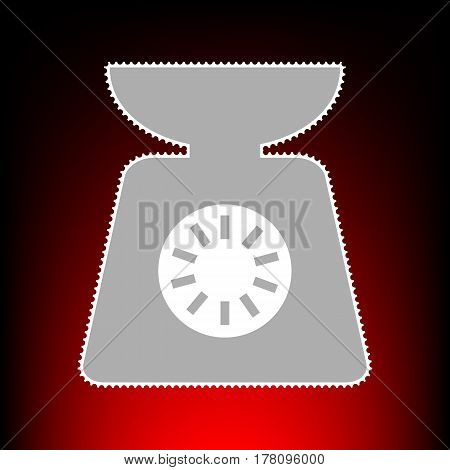 Kitchen scales sign. Postage stamp or old photo style on red-black gradient background.