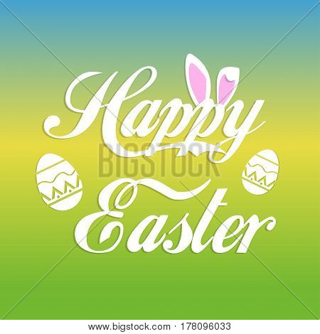 Happy easter greeting card with bunny ears and text banner and eggs on colorful background