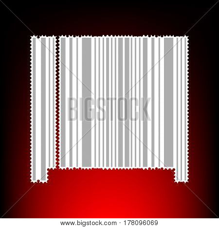 Bar code sign. Postage stamp or old photo style on red-black gradient background.