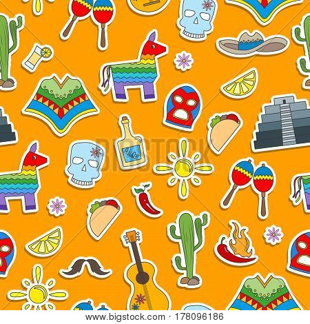Seamless pattern on the theme of recreation in the country of Mexico colorful stickers icons on orange background