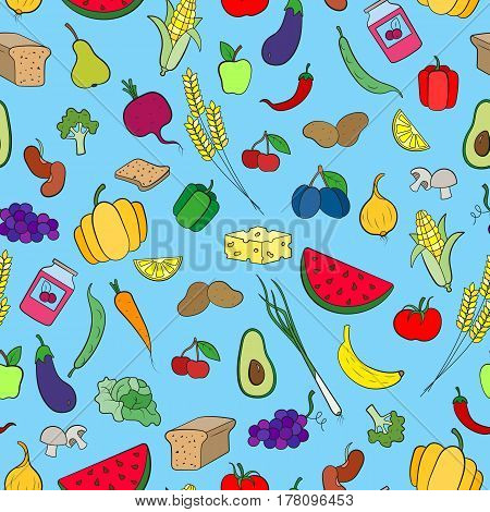 Seamless background on the topic of vegetarianism simple icons grocery stores signs on blue background