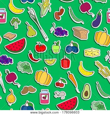 Seamless background on the topic of vegetarianism simple icons food signs stickers on a green background
