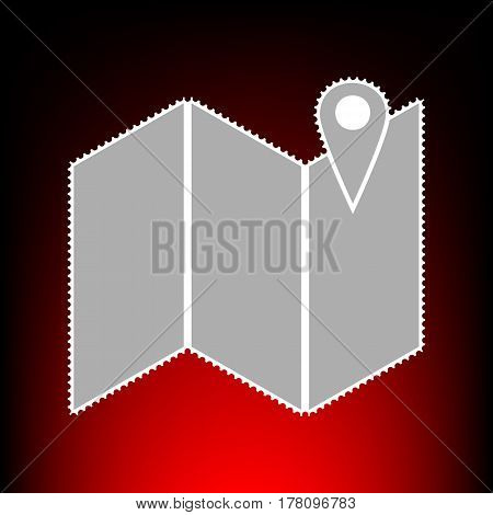 Pin on the map. Postage stamp or old photo style on red-black gradient background.