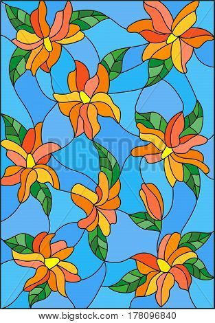 Illustration in the style of stained glass with intertwined lilies and leaves on a blue background