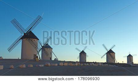 Sunrise in Castile. Campo de Criptana Castile-La Mancha Spain. In Campo de Criptana where Don Quixote mistakes windmills for giants in the book of Miguel de Cervantes.