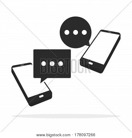Message Icon In Flat Style Isolated On White Background. Sms Symbol.