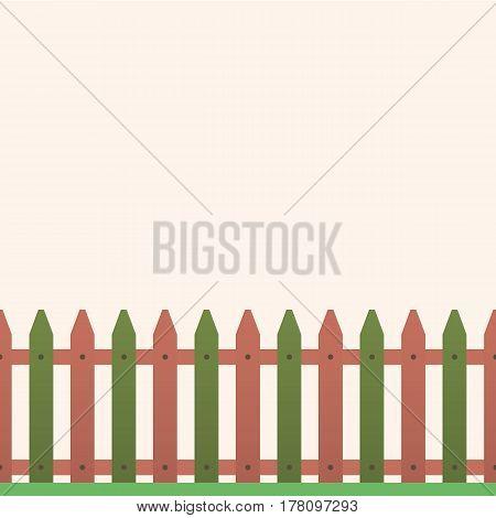 Cartoon wooden fence in green grass vector illustration
