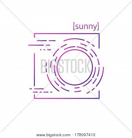 Line Vector Icons With Symbol Weather. Isolated Sun Icon. Clear Sunny Weather. Suitable For Website