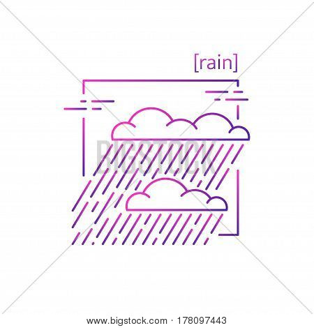 Line Vector Icons With Symbol Weather. Isolated Clouds With Rain Icon. Rainy Weather With Heavy Rain