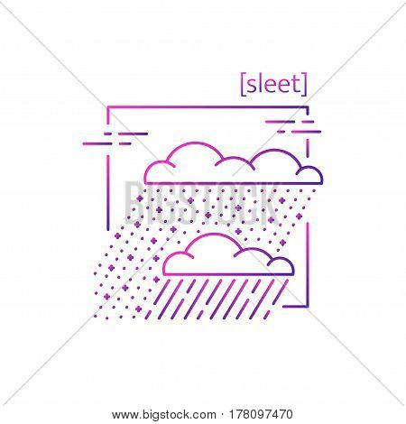 Line Vector Icons With Symbol Weather. Isolated Snow With Rain Icon. Slush, Snow And Rain, Sleet. Su