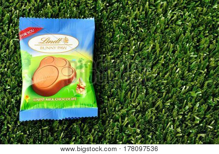 Kwa Zulu Natal - 21 March 2017 - Lindt Bunny paw for easter displayed on artificial grass. Editorial
