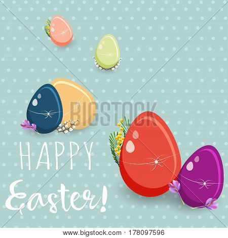 Happy Easter greeting card. Vector illustration on blue background