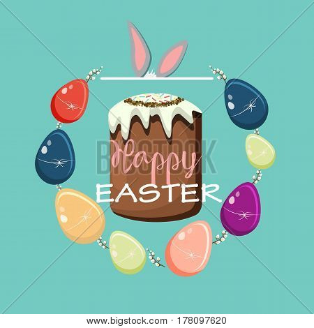 Colorful Happy Easter greeting card. Vector illustration
