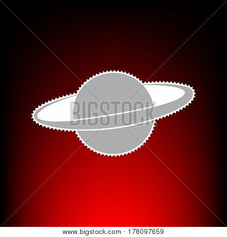 Planet in space sign. Postage stamp or old photo style on red-black gradient background.