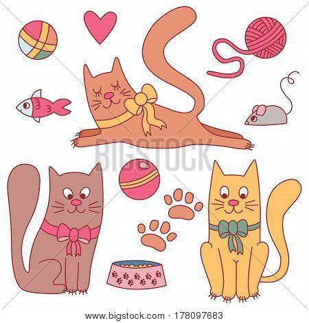 Cute cats doodle toys pets vector set