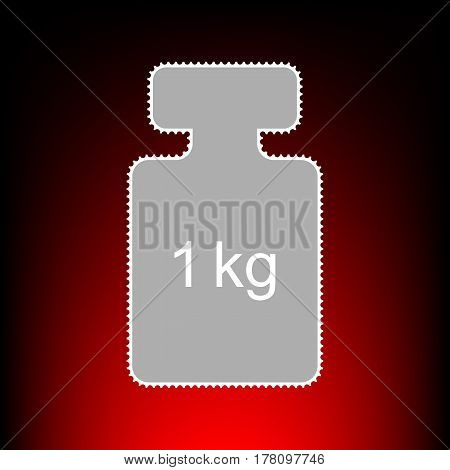 Weight simple sign. Postage stamp or old photo style on red-black gradient background.