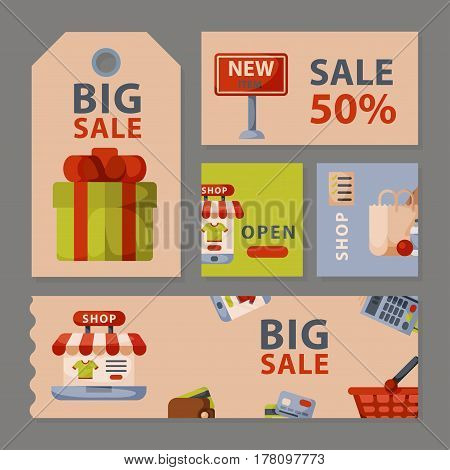 Supermarket grocery shopping retro cartoon cards set with customers carts baskets food and commerce products isolated vector illustration. Business market discount cart accessory.