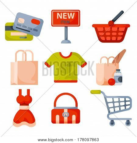 Supermarket grocery shopping retro cartoon icons set with customers carts baskets food and commerce products isolated vector illustration. Business market discount cart accessory.