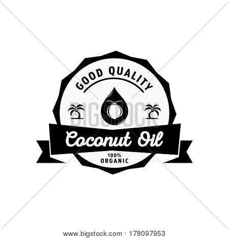 coconut oil guarantee logo with oil drop and coconut tree