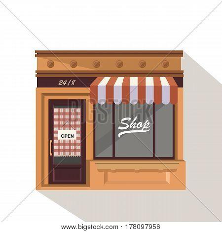 Market Street Store Building Facade Small Shop Front Shopping Design Detailed Illustration Vector