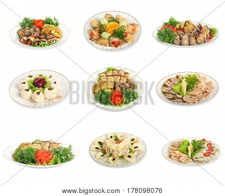 Set of festive meals of meat and vegetables on white background isolated