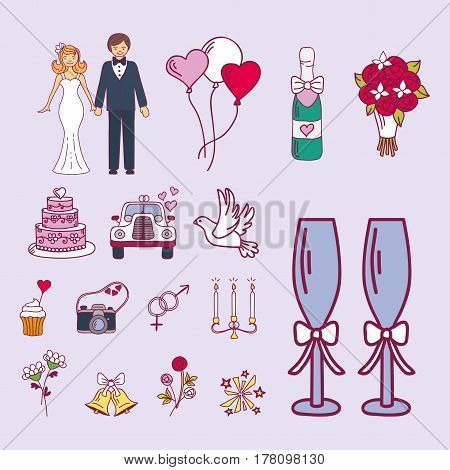 Bride and groom wedding couple marriage nuptial icons design ceremony celebration and holliday people folk icons beauty portrait family vector illustration. Cheerful fashion groom and bride symbols.
