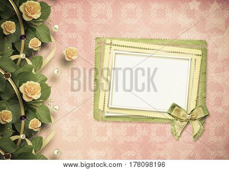 Beautiful Greeting Card With Yellow Roses And Paper Frame