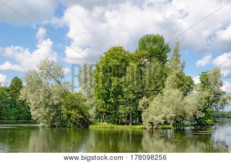 Small island with silvery willows in the midst of a beautiful lake against the blue sky and the Gatchina Palace near Saint Petersburg.