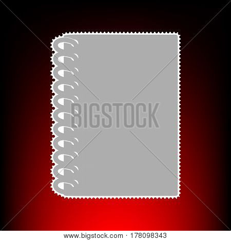 Notebook simple sign. Postage stamp or old photo style on red-black gradient background.