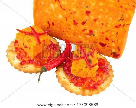 Chilli flavour Cheddar cheese isolated on a white background