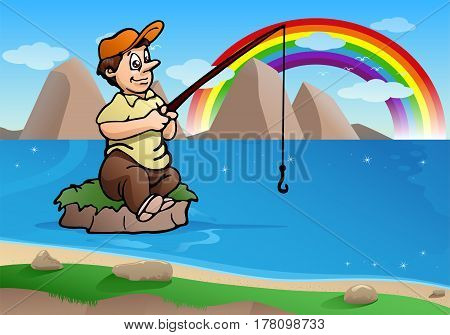 illustration of a fishing man on small island ready to fishing on the blue river in nature background