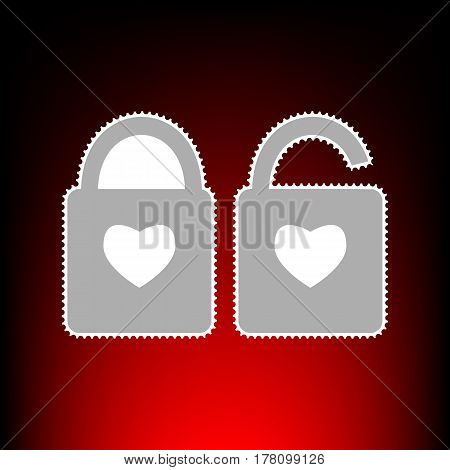 lock sign with heart shape. A simple silhouette of the lock. Shape of a heart. Postage stamp or old photo style on red-black gradient background.