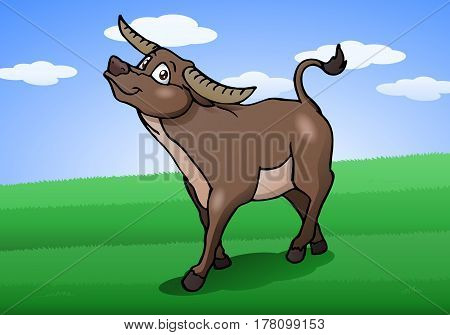 illustration of a healthy ox on nature background