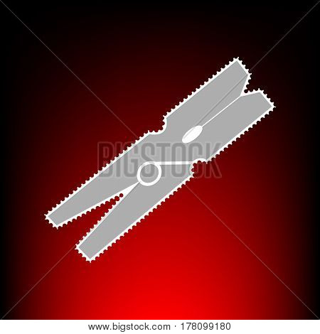 Clothes peg sign. Postage stamp or old photo style on red-black gradient background.