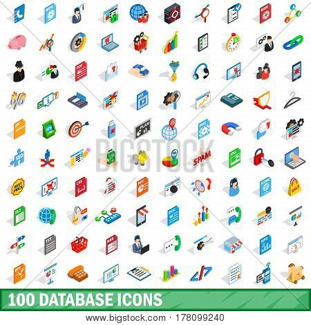 100 database icons set in isometric 3d style for any design vector illustration