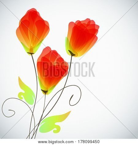 Abstract floral background, elegant tulips flowers.