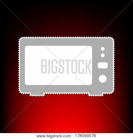 Microwave sign illustration. Postage stamp or old photo style on red-black gradient background.
