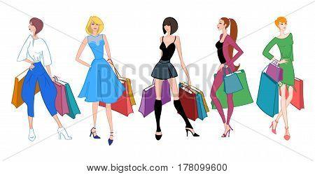 Set of Fashion girls with shopping bags on white background. Shopper. Sales. Cartoon characters. Colorful vector illustration.
