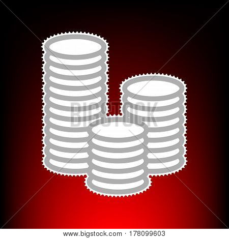 Money sign illustration. Postage stamp or old photo style on red-black gradient background.