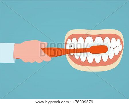 Brushing teeth. Man with toothbrush in hand brushing her teeth. Concept oral care.