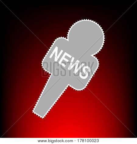 TV news microphone sign illustration. Postage stamp or old photo style on red-black gradient background.