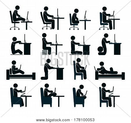 Bad and good working position of the human at the computer in office chair, on bed. Different positions of person at computer.