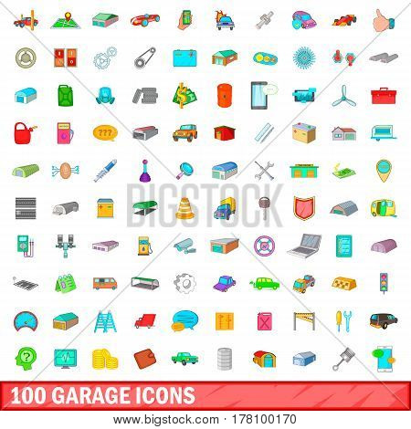 100 garage icons set in cartoon style for any design vector illustration