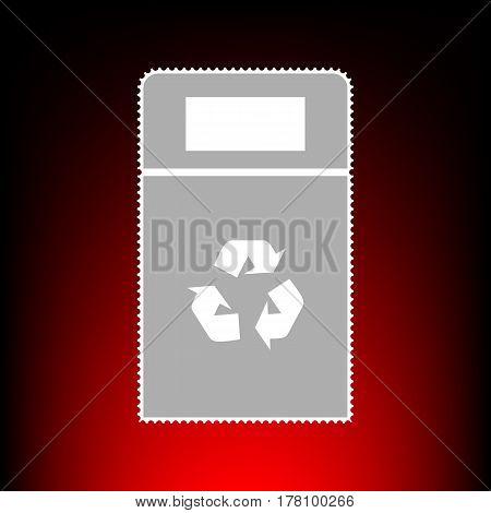 Trashcan sign illustration. Postage stamp or old photo style on red-black gradient background.