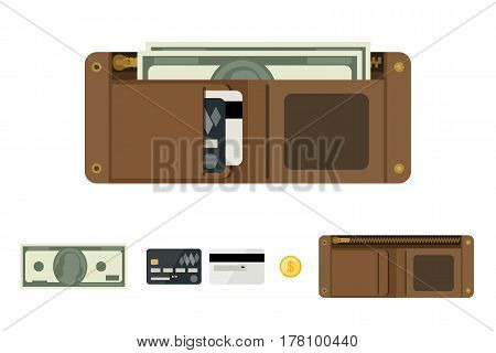 Wallet open with money in flat style. Icons of coin, wallet, credit cards.