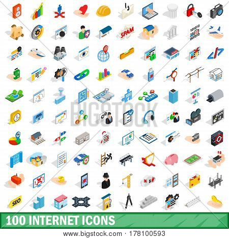 100 internet icons set in isometric 3d style for any design vector illustration