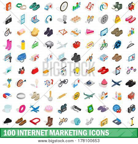 100 internet marketing icons set in isometric 3d style for any design vector illustration